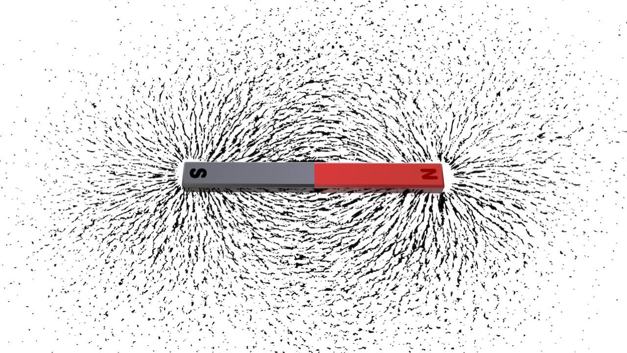 Iron filings around a magnet