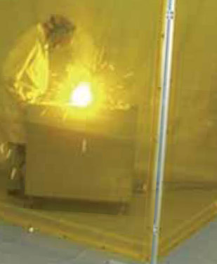 welder separated by protective screens