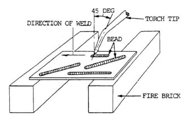 flat position narrow bead weld